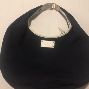 Kate Spade black canvas shoulder bag w/white trim
